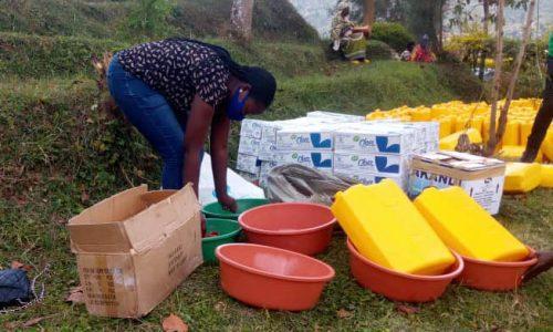 Rachel Organizing supplies for the Ngoboka Project